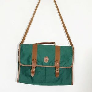 Green Canvas Preppy Polo Embossed Messenger Bag